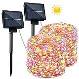 2 Guirnaldas Luces Exterior Solar - 26M 240 LED Cadena de Luces Impermeable IP65 8 Modos Guirnaldas de Luz Decorativas Decoración para Jardines, Navidad, Bodas,Fiestas, Patio, Arboles (Multicolor)