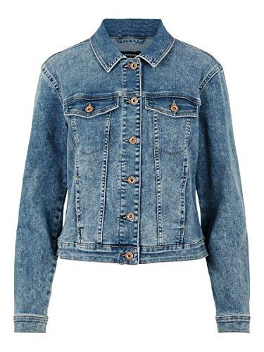 PIECES Pcaia Fitted LS Dnm Jacket LB/BLC Box BC Chaqueta de Jean, Mezclilla Azul Claro, S para Mujer
