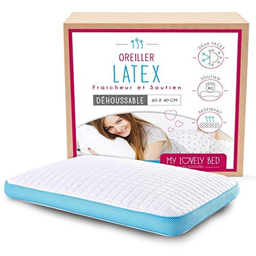 My Lovely Bed - Almohada Cervical de Látex 60x40 cm - Natural - Firme - Ergonómica : Mantiene la posición de la Nuca y Las cervicales - Ortopédica - Algodón - Refrescante