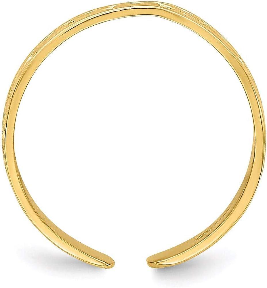 14k Yellow Gold Small X & Hearts Adjustable Toe Ring