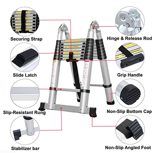 DICN Telescopic Ladders Aluminum 5M 16.5Ft Straight Ladder / 2.5M+2.5M A-Frame Ladder Retractable Collapsible Save Space for Multi Function DIY Builders Garden Work, 150kg/330lbs Max Load