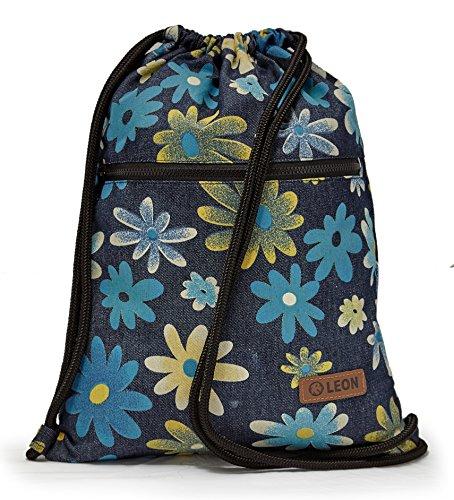 By Bers LEON Turnbeutel, große Reißverschluss Außentasche, mit Innentaschen Rucksack Tasche Damen Herren & Teenager Gym Bag Draw String (Blumenblau_Zipper)