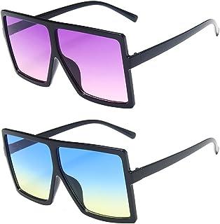 besbomig - 2 pares de gafas de sol rectangulares de gran tamaño de la vendimia Gafas cuadradas unisex de la vendimia Gafas planas para mujeres Hombres