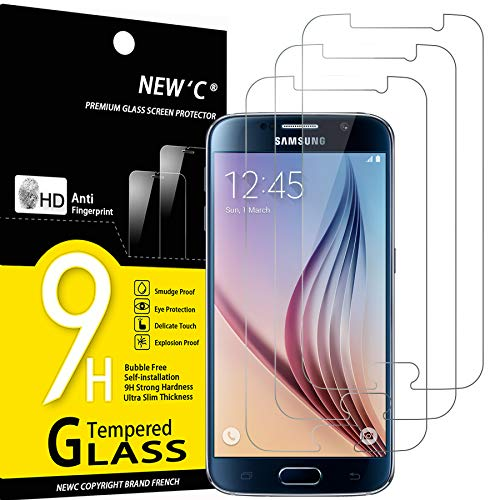 NEW'C Lot de 3, Verre Trempé Compatible avec Samsung Galaxy S6, Film Protection écran sans Bulles d'air Ultra Résistant (0,33mm HD Ultra Transparent) Dureté 9H Glass