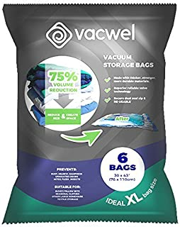 Vacwel Jumbo Vacuum Storage Bags for Clothes, Quilts, Pillows, Space Saver Size..