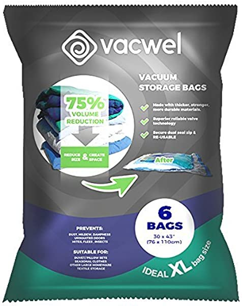 Vacwel Jumbo Vacuum Storage Bags For Clothes Quilts Pillows Space Saver Size 43x30 Extra Strong Pack Of 6