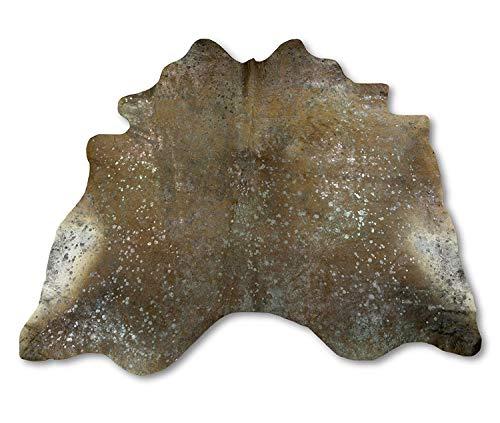 Zerimar Kuhfell Teppich Gefärbt braun-Silber | Massnahmen: 190x220 cm | Teppich für Wohnzimmer | Schlafzimmer Teppich | Teppich Deko | Kuh Teppich Echt