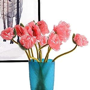 Artfen 5 Pcs Artificial French Corn Poppy Silk Poppy Flocking Long Stem Flowers Home Wedding Party Decor 25″ High No Vase Dream Pink