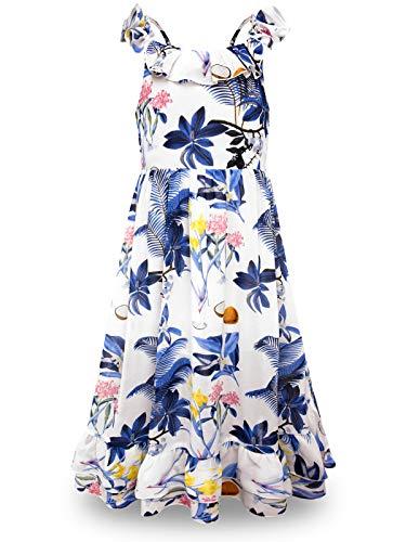 BONNY BILLY Mädchen Kleider Sommer Freizeit Chiffon Blumen Ärmellos Strandkleid Maxikleid mit Rüschen 5-6 Jahre/110-116 Blau