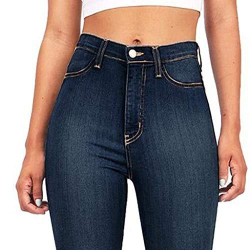 Lazzboy Women Flared Trousers Plain Jeans High Waist Pocket Zip Long Pants Ladies Trouser(XL(12),Dark Blue)
