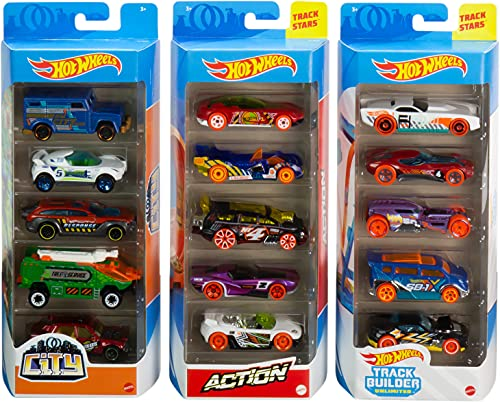 Hot Wheels Track Pack 5 Pack Bundle of 15 1:64 Scale Vehicles with 3...