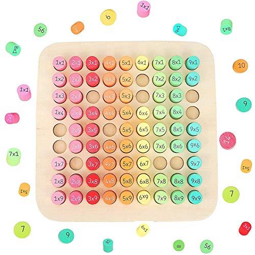 Boyigog Tabla de Multiplicar de Madera, Juguetes Educativos de Multiplicación, Juego Educativo para Niños de Tabla de Multiplicar Nueve-Nueve(22x22cm)