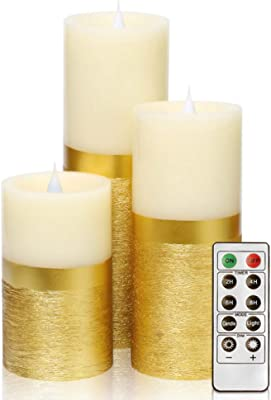 Flameless LED Pillar Candles Battery Operated Real Wax Flickering Wedding Party