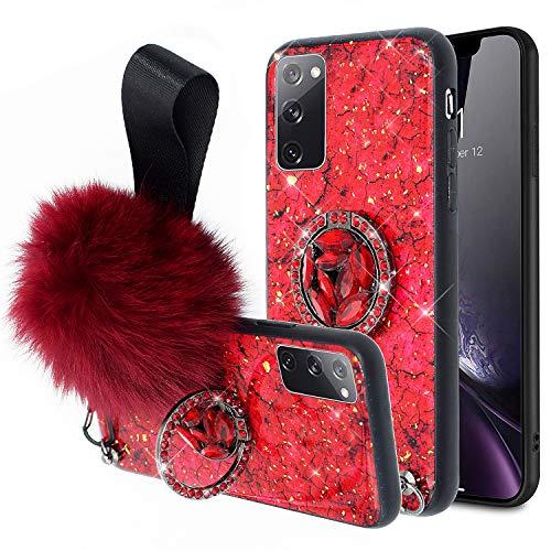Hülle für Samsung Galaxy S20 FE Hülle Silikon Bling Diamant Ring Ständer Haarball Glänzend Glitzer Marmor TPU Silikon Hülle Handyhülle Case Tasche Schutzhülle für Galaxy S20 FE,Rot