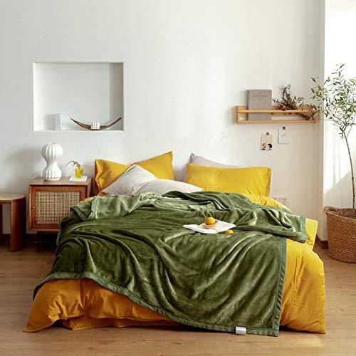 QIUBD Kuscheldecke,extra Dicke Warm Sofadecke/Couchdecke/TV Decken/Tagesdecke In Zweiseitig, Flauschige Extra Weich und Warm Wohndecke Flanell Fleecedecke (Olive Green,150 x 200 cm)