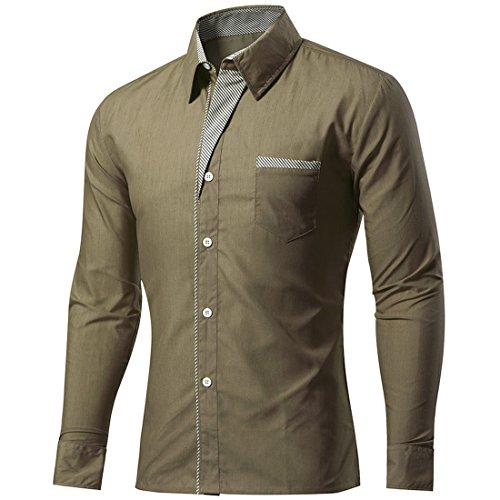 Sidiou Group Casual Business Hemden Herren Hemd Herrenhemden Slim Fit Langarm Männerhemden Bürohemd Herren Hemden für Männer Button Down Hemd (Armeegrün, Asia XL=US M)