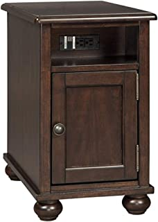 Ashley Furniture Signature Design - Barilanni Chair Side End Table with USB Ports - Dark Brown