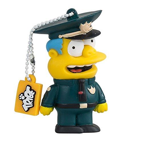 Tribe Simpsons Chief Wiggum USB Stick 8GB Speicherstick 2.0 High Speed Pendrive Memory Stick Flash Drive, Lustige Geschenke 3D Figur, USB Gadget aus Hart-PVC mit Schlüsselanhänger – Mehrfarbig