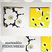 ファブリックパネル PIENIUNIKKO ピエニウニッコ PIENI UNIKKO 30×30×2.5cm 2枚セット ホワイト&イエロー×グリーン Maija Isola 北欧 アートボード 雑貨 インテリアパネル