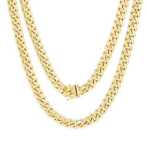 """Nuragold 10k Yellow Gold 7.5mm Miami Cuban Link Chain Necklace, Mens Jewelry Box Clasp 20"""" 22"""" 24"""" 26"""" 28"""" 30"""""""