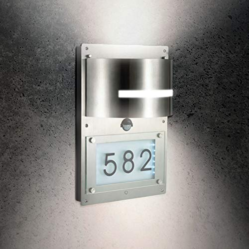 Grafner Edelstahl Wandlampe mit beleuchteter Hausnummer und Bewegungsmelder, Dämmerungssensor, LED Hausnummernleuchte Wandleuchte