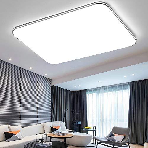 72W Plafon led de techo 5760LM Plafon LED Techo Cuadrad Iluminación interior para Dormitorio Comedor Cocina Balcón Marco de Aluminio Plateado(Blanco Frío,6000-6500K)