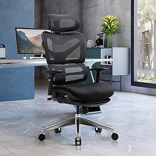 YAMASORO Ergonomic Office Chair, High Back Reclining Breathable Mesh Desk Chair, Lumbar Support, Swivel Computer Task Chair with Adjustable Armrest and Headrest Black …