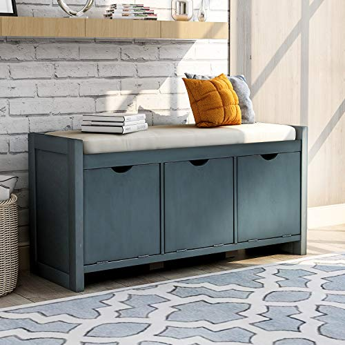 Storage Bench Upholstered Storage Bench with Flip Lock Storage Cubbies and Removable Cushion Wood Entryway Shoe Bench for Hallway Entryway Bedroom and Living Room Antique Navy