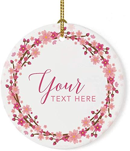 Adorno de árbol de Navidad de porcelana redonda personalizada, regalo coleccionable, su texto aquí, corona de flores de cerezo, 1 paquete, personalizado, incluye caja de regalo, 7,2 * 7,2 cm
