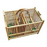 Jaula para pajaros Creativo bambú hecho a mano pájaros a mano una rejilla dos cuadrículas aves casa suministros mascotas tienda transporte cuadrado casero decoración al aire libre Casas para pájaros