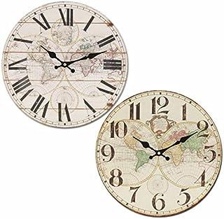 CAPRILO. Reloj de Pared Decorativo Retro de Madera Mapamundi(A Elegir) .Adornos. Decoración Hogar. Muebles Auxiliares. Men...