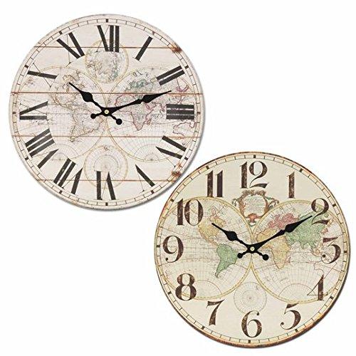 CAPRILO. Reloj de Pared Decorativo Retro de Madera Mapamundi(A Elegir) .Adornos. Decoración Hogar. Muebles Auxiliares. Menaje Cocina. Regalos Originales. 34 x 34 x 4 cm. (NÚMEROS ORDINALES)