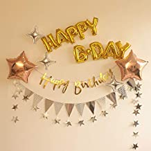 Happy Bday Stars Foil Balloons Paper Garland Bunting Banner Hanging for Birthday Party Show Window Dressing Anniversary De...