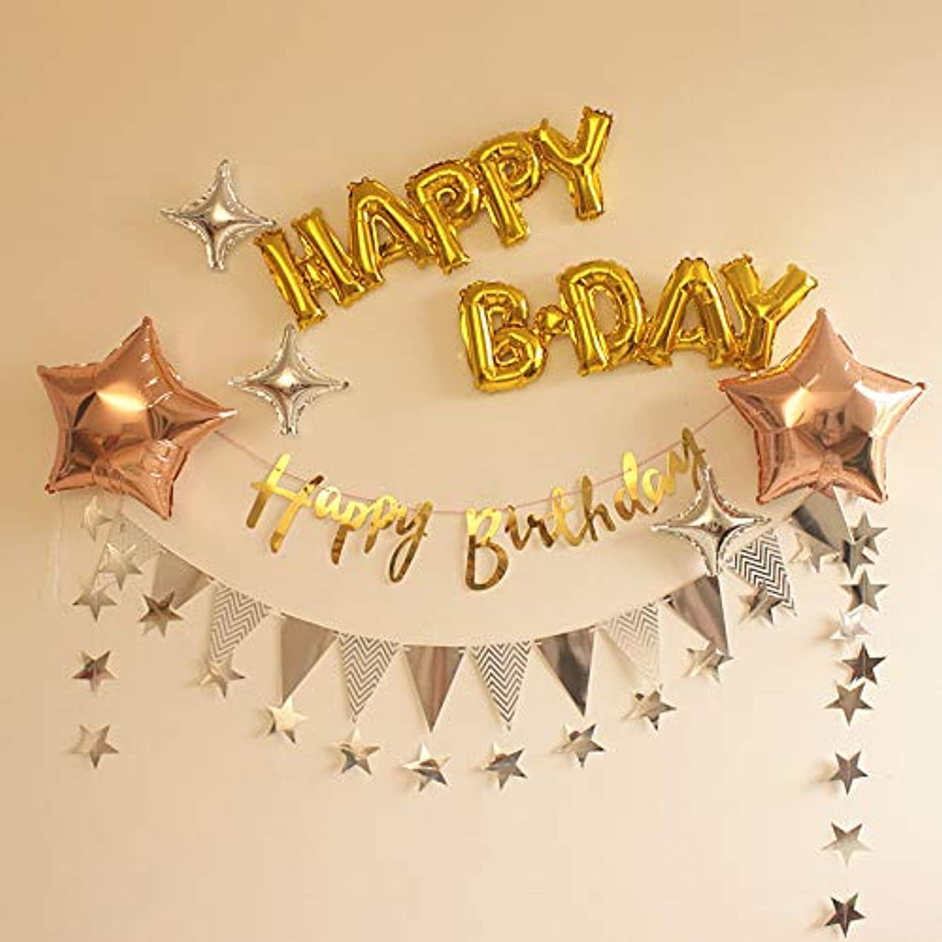 Happy Bday Stars Foil Balloons Paper Garland Bunting Banner Hanging for Birthday Party Show Window Dressing Anniversary Decoration (Happy B-Day)