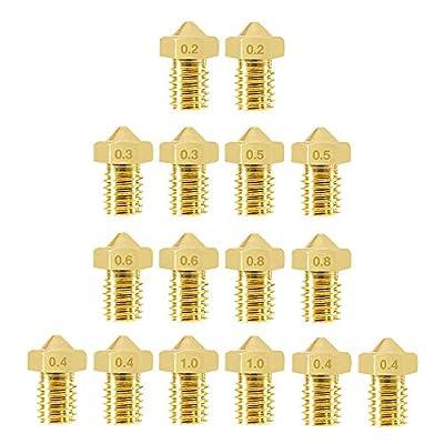 3D Printer Nozzles, Alinan 16 Pcs Extruder Nozzles M6 0.2mm 0.3mm 0.4mm 0.5mm 0.6mm 0.8mm 1.0mm 3D Printer Brass Nozzles Print Head for E3D V5 V6 Makerbot 3D Printer