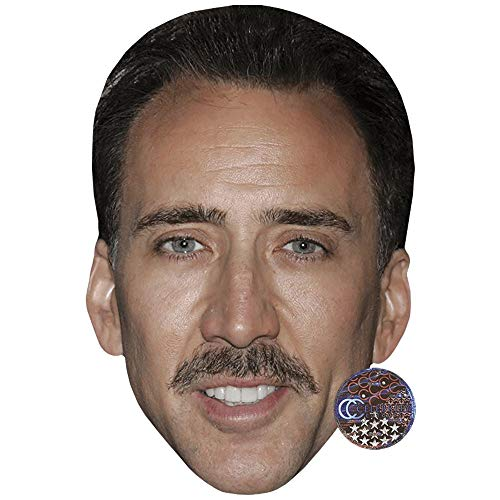 Nicolas Cage (Moustache) Celebrity Mask, Flat Card Face, Fancy Dress Mask