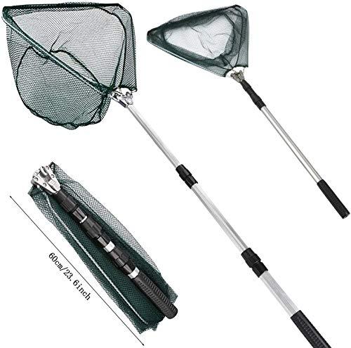 Xndryan Retini da pesca per pesca, 180 cm telescopico con manico, Retino da pesca pieghevole portatile, con manico lungo, per laghetti alla carpa, pesca alla trota