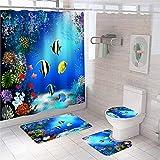 Juego de 4 cortinas de ducha para decoración de baño, impermeable, con 12 ganchos, 177,8 x 177,8 cm
