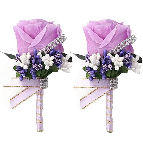 2 Piezas Broche de Flores de Boda Rosa, Boutonniere de Boda, Artificial Rosa Flor Broche, Hecho a Mano Novio Ramillete con Pin y Clip para Bodas, Fiestas de Graduación, Decoración de Fiestas (Púrpura)