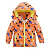 Toddler Boys Girls Jacket Hooded Trench Dinosaur Lightweight Kids Coats Windbreaker Outdoor (Orange,3T)