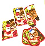 Home Collection Wine Themed Kitchen Towel Set with 2 Quilted Pot Holders, 2 Dish Towels and 1 Oven Mitt (red)