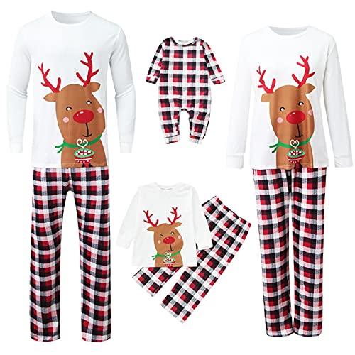 Conjunto de pijamas Navideños Familiar Mujer Hombre Niños Bebé Invierno Otoño Manga Larga Camiseta Top + Pantalones Reno Impreso Suave Juego Ropa de Dormir Fiestas Entrega de Regalos Casual Homewear