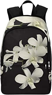 YUMOING Orchid White Flower Flora Casual Daypack Travel Bag College School Backpack for Mens and Women