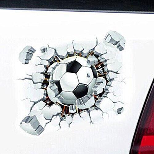 Yuydyu - Adesivo da parete in vinile per auto, motivo: pallone da calcio rotto da parete, stemma creativo per paraurti e finestra