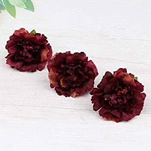 Artificial and Dried Flower 20pcs Flower Heads in Bulk for Crafts Artificial Silk Pompom Carnation Peony Fake Flowers Head Hydrangea Home Decoration – ( Color: burgy )