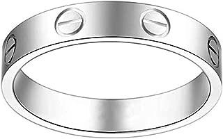 US.TORZK Women's Fashion Classics Titanium Steel Silver Rings - Eternal Lovers Ring Wide 5mm