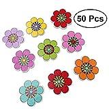 Healifty DIY Botones Madera para Manualidades Colores Mezclados del Flores para Las Artesanías DIY Color Clasificado 25MM 50 Piezas