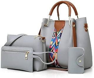 YHAUBH Women Handbags Shoulder Bags Tote Synthetic Leather Handbags Fashion Large Capacity Bags Crossbody Bag Small Purse Key Holder 4pcs Tote Bags Traveling, Shopping (Color : Gray)
