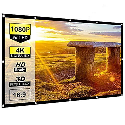 Ylife Projector Screen 100 Inch, 16:9 HD 4K No Crease Portable Video Projection Movie Screen Grommets for Home Theater Outdoor (100 Inch)