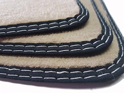 Fußmatten (( MP4 - Actros )) BEIGE Doppelnaht weiß Original Qualität Velours Autoteppiche Automatten